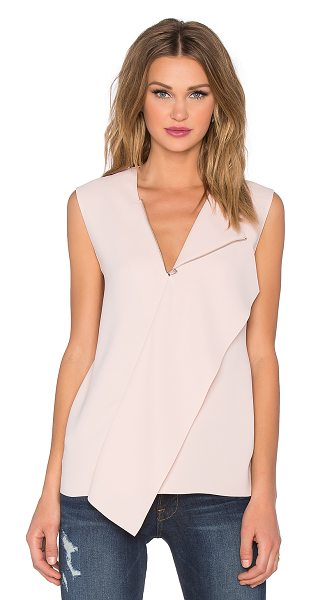 Vince Zip neck draped shell in pink - 100% poly. Dry clean only. Front zipper closure....