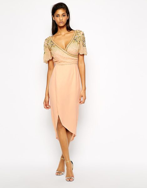 Virgos Lounge Julisa wrap front midi dress with embellished shoulder in nude - Evening dress by Virgos Lounge Chiffon with bead and...
