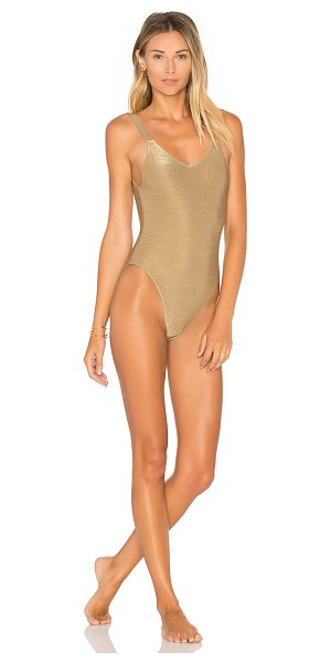 Vitamin A Leah One Piece in metallic bronze - Self: 79% nylon 14% metalized poly 7% spandexLining 91%...