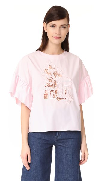 VIVETTA flounce sleeve blouse in pink - Tiny cutouts and tonal embroidery accent the front of...
