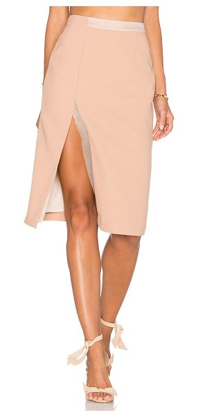 VIVIAN CHAN Alina Skirt in beige - Poly blend. Dry clean only. Fully lined. Front slit....