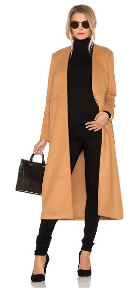 VIVIAN CHAN Cuttrell Coat in tan - Poly blend. Dry clean only. Open front. Front slit...