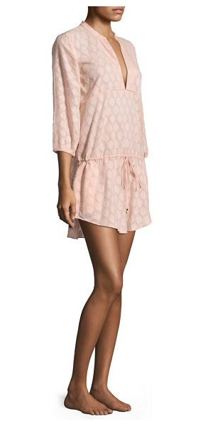 ViX by Paula Hermanny rosewater christina cotton caftan in light pink - Comfy cotton caftan finished in a textured silhouette....