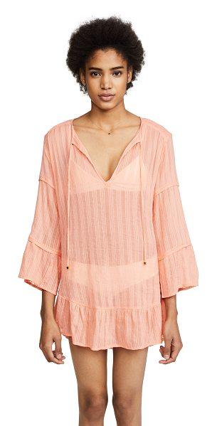Vix Swimwear bellini ruffle tunic in bellini - Fabric: Shadow-striped voile Gold-tone beads at ties...