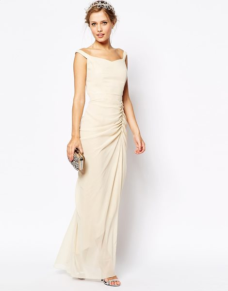 VLabel London India maxi dress with bardot neck in cream - Dress by VLabel London Sheer chiffon Off shoulder design...