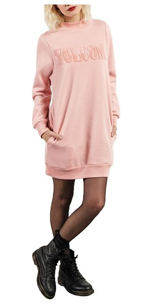 Volcom burn city fleece sweatshirt dress in mellowrose - Chenille lettering adds varsity style to a sporty...
