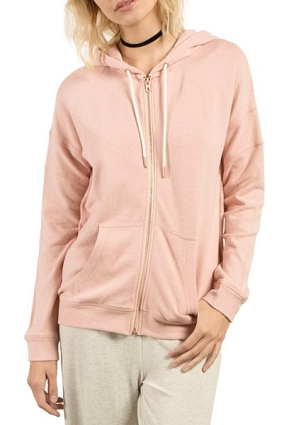Volcom lil zip fleece hoodie in mellow rose - Dropped shoulders relax a cotton-blend fleece hoodie...