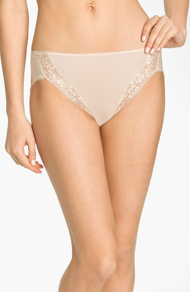 Wacoal bodysuede lace trim high cut briefs in beige