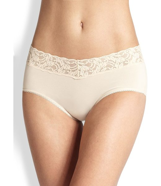 Wacoal cotton suede hipster brief in natural - A modern, flirty silhouette designed with a comfortable...