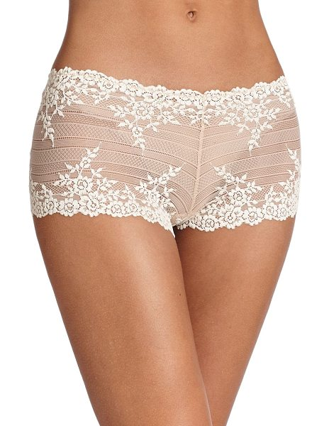 Wacoal embrace floral boyshort in natural nude