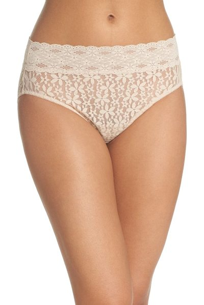 Wacoal halo lace high cut briefs in beige - A mid-rise waist and high-cut legs put a retro spin on...