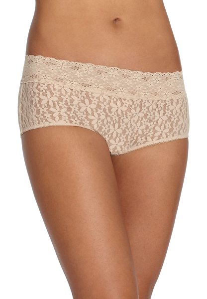 Wacoal halo lace boyshort in natural - Crafted in delicate lace, these feminine boyshorts are a...