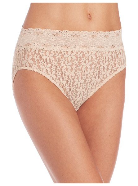 Wacoal halo lace hi-cut brief in sand