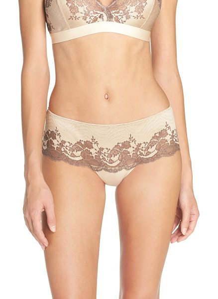 Wacoal lace affair tanga in frappe/ cappuccino - Cross-dyed lace creates an eye-catching look for these...