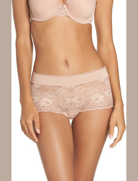 Wacoal lace boyshorts in mahogany rose - Sheer lace with a cheeky backside update these chic...