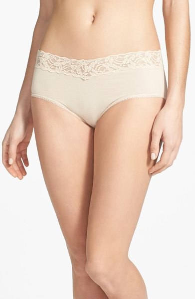 Wacoal cotton suede lace trim hipster briefs in naturally nude - Sheer stretch lace forms the wide, nonbinding waistband...