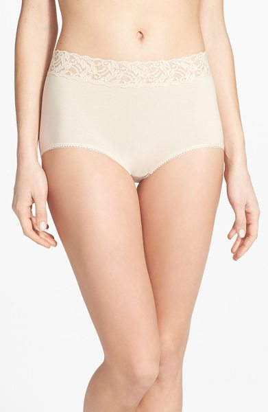 Wacoal 'cotton suede' lace trim briefs in naturally nude - Sheer stretch lace forms the wide, nonbinding waistband...