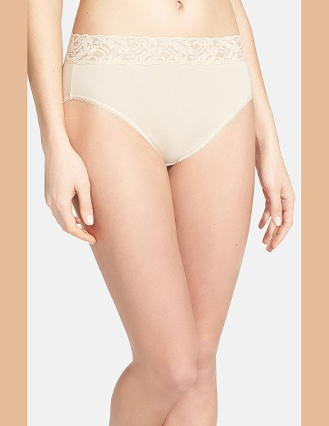 Wacoal 'cotton suede' lace trim high cut briefs in naturally nude - Sheer stretch lace forms the wide, nonbinding waistband...
