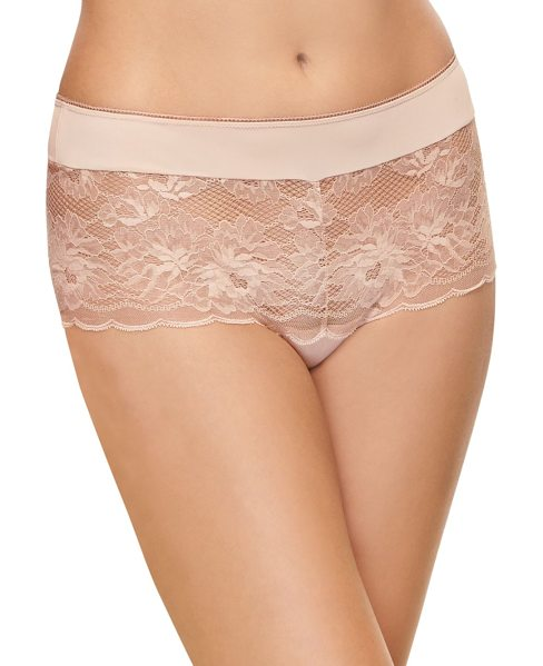 Wacoal mesh lace panty in mahoganyrose - Lace panty with embroidered floral and scalloped...