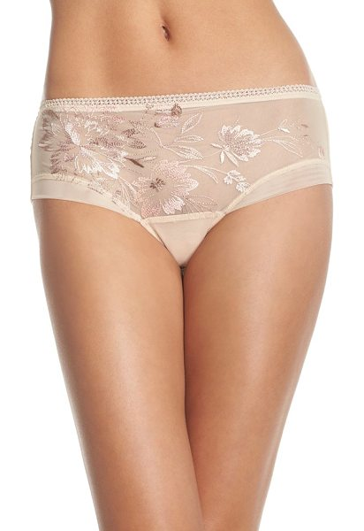 Wacoal serenity embroidered boyshorts in sheer sand