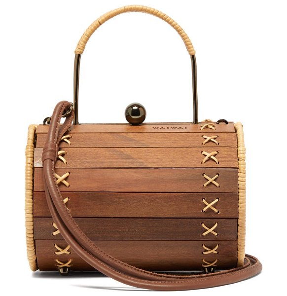 WAI WAI alix wood and rattan cross body bag in brown