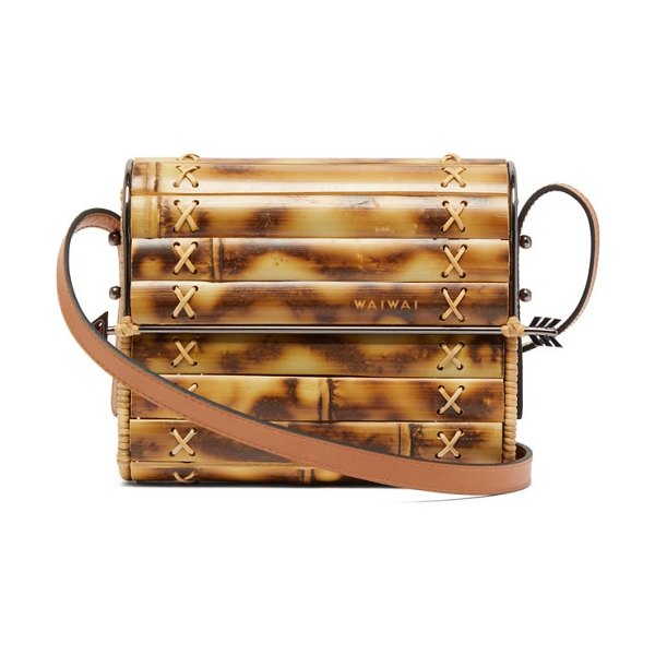 WAI WAI seringueira bamboo and leather cross body bag in brown