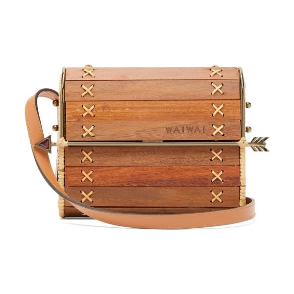WAI WAI seringueira wood and rattan cross-body bag in brown