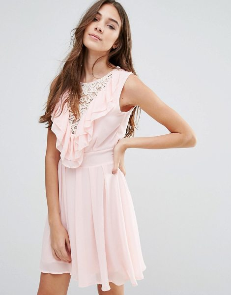 "Wal G Lace Insert Skater Dress With Ruffles in pink - """"Evening dress by Wal G, Woven fabric, Round neckline,..."