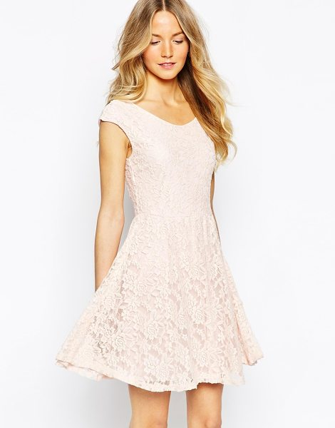 Wal G Lace skater dress in pink - Skater dress by Wal G Lined stretch lace Scoop neckline...