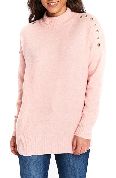 Wallis eyelet shoulder knit tunic in pink - Variegated eyelet openings anchored by silvery grommets...