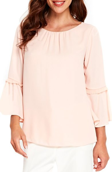 Wallis happy days flute sleeve blouse in blush - Fluttery flared cuffs accented with pertly pleated trim...