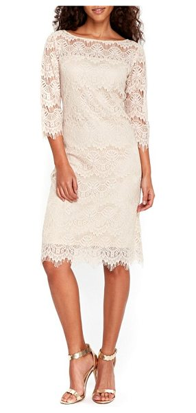Wallis scallop lace dress in taupe/ beige - A gently fitted silhouette defines a romantic bateau...