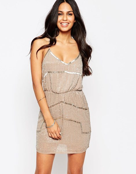 Walter Baker Destiny embellished dress in taupe - Dress by Walter Baker Mid-weight semi-sheer fabric...
