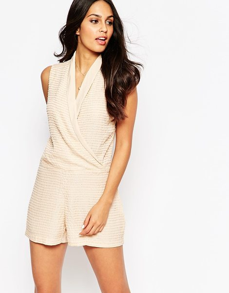 Walter Baker Gabby textured wrap romper in blush - Romper by Walter Baker Lightweight, soft-touch...