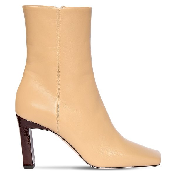 WANDLER 85mm leather ankle boots in nude
