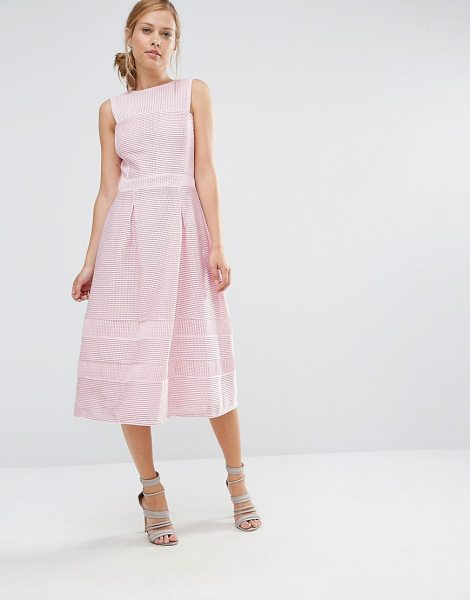 "Warehouse A Line Midi Prom Dress in pink - """"Dress by Warehouse, Lined woven fabric, Textured..."