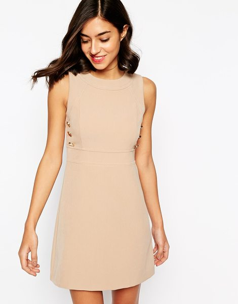 Warehouse Buttton detail shift dress in tan - Dress by Warehouse, Smooth, woven fabric, Round...
