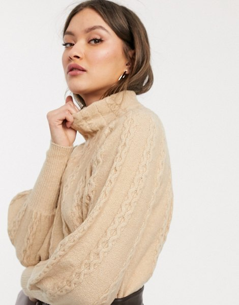 Warehouse cable sweater with high neck in camel-brown in brown