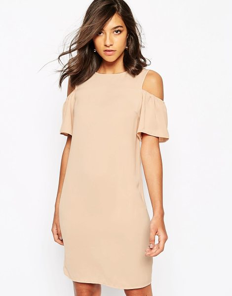Warehouse Cold shoulder shift dress in pink - Dress by Warehouse, Lightweight, soft-touch fabric,...