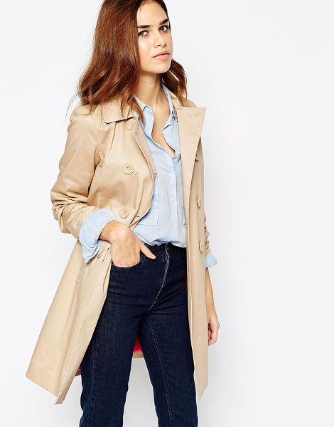 WAREHOUSE Double breasted trench in stone - Trench by Warehouse Lightweight, stretch cotton Contrast...