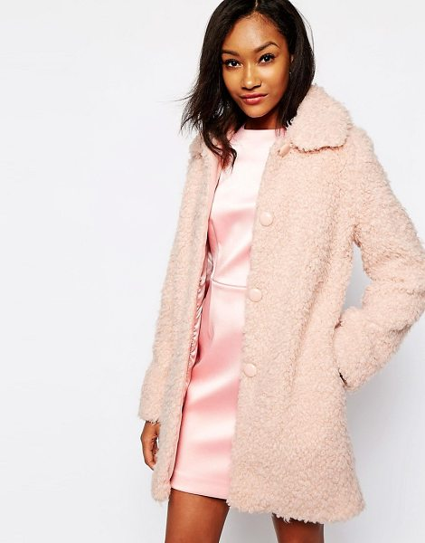 Warehouse Fluffy Teddy Coat in pink - Coat by Warehouse, Fluffy feel fabric, Satin lining,...