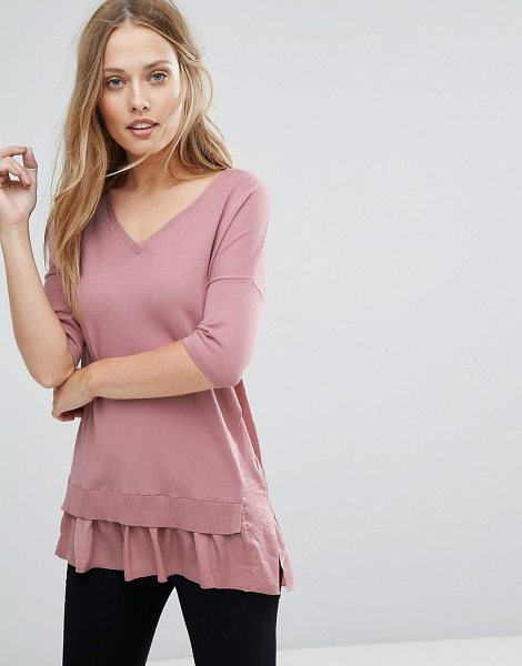 Warehouse Frill Hem Sweater in pink - Sweater by Warehouse, Soft-touch knit, V-neck, Dropped...