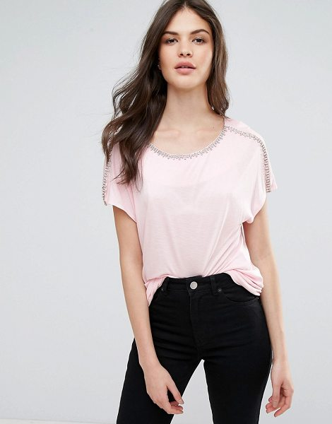 "WAREHOUSE Jewel Trim T-Shirt - """"Top by Warehouse, Stretch fabric, Scoop neck,..."