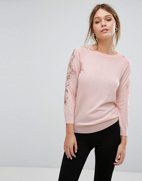 "Warehouse Lace Insert Sweater in pink - """"Sweater by Warehouse, Soft-touch fine knit, Crew neck,..."
