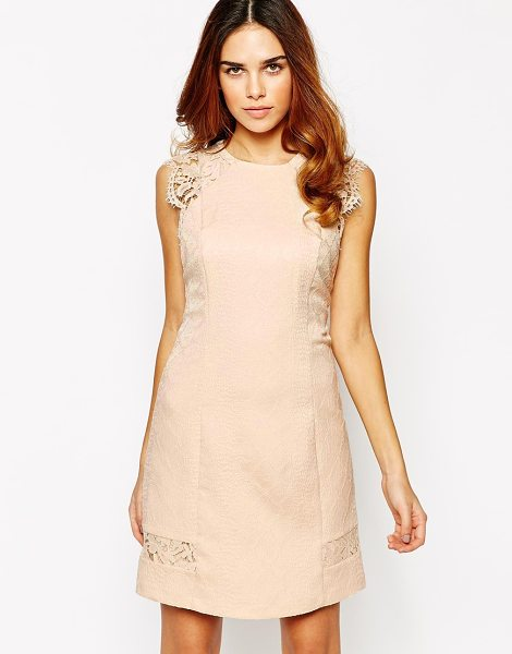 Warehouse Lace Sleeve Jaquard Dress in beige - Dress by Warehouse, Lined jacquard, Crew neckline,...