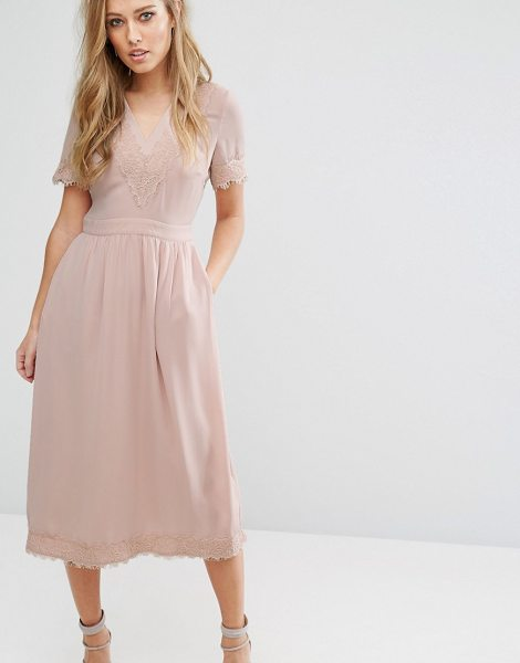 """Warehouse Lace V Neck Midi Dress in pink - """"""""Midi dress by Warehouse, Smooth woven fabric, V-neck,..."""