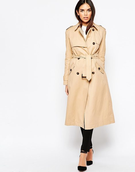 Warehouse Longline Trench in beige - Trench by Warehouse, Woven fabric, Notch lapel collar,...