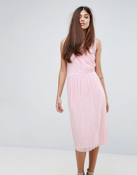"Warehouse Occasion Mesh Wrap Dress in pink - """"Dress by Warehouse, Lined mesh, Round neck, Gathered..."