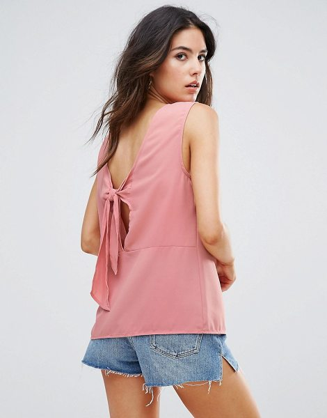 "Warehouse Open Back Tie Top in pink - """"Top by Warehouse, Lightweight woven fabric, Scoop..."