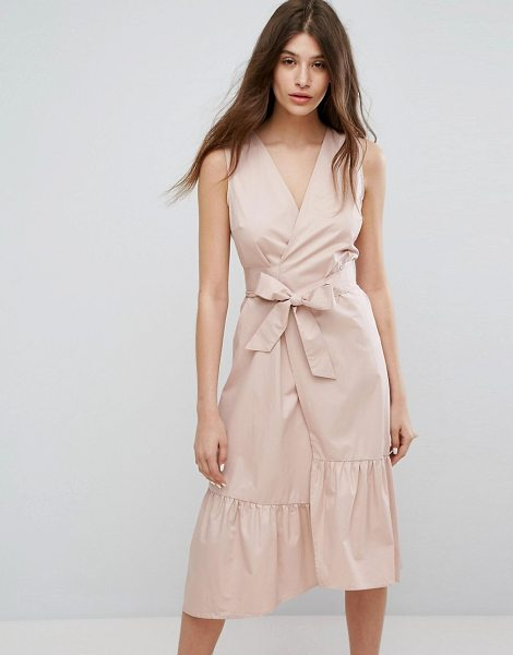 "Warehouse Peplum Hem Wrap Dress in pink - """"Dress by Warehouse, Crisp cotton, Lightweight design,..."